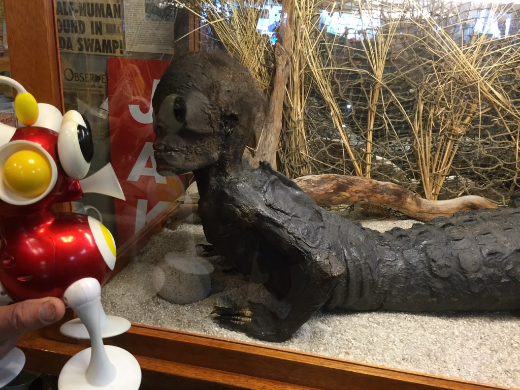 Flip is excited to meet a distant relative, Jake the Alligator Man in Long Beach, Wash.