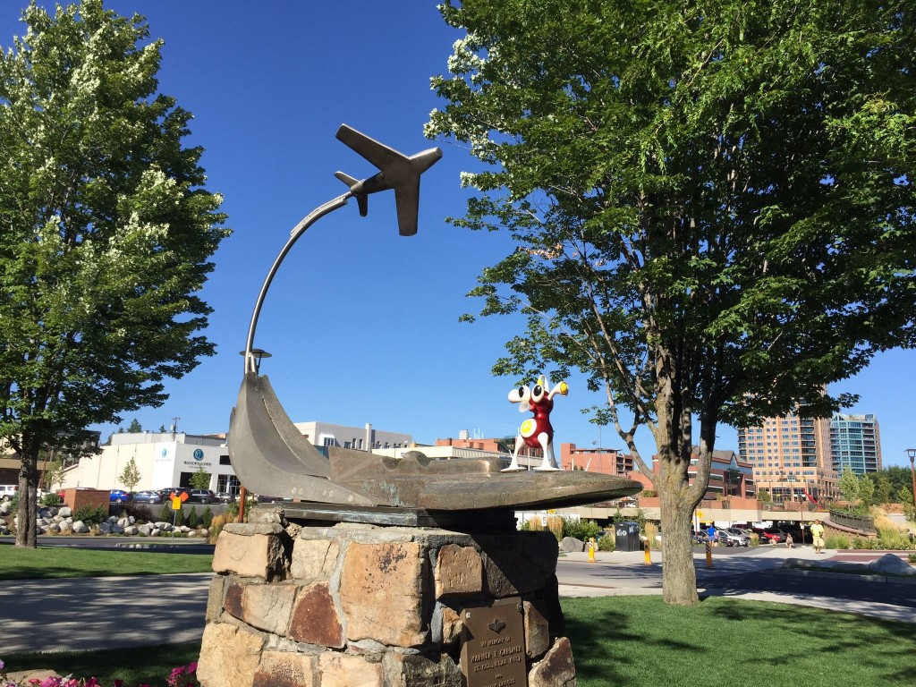 A memorial to an Air Force hydroplane lieutenant colonel in Coeur d'Alene. Flip's all on board.
