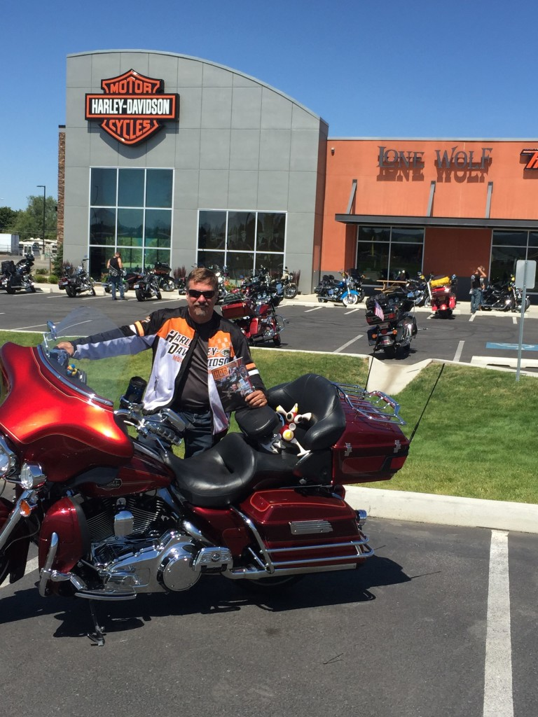Carl fulfilling the S requirement in his HOG alphabet trip in Spokane Valley, Wash.