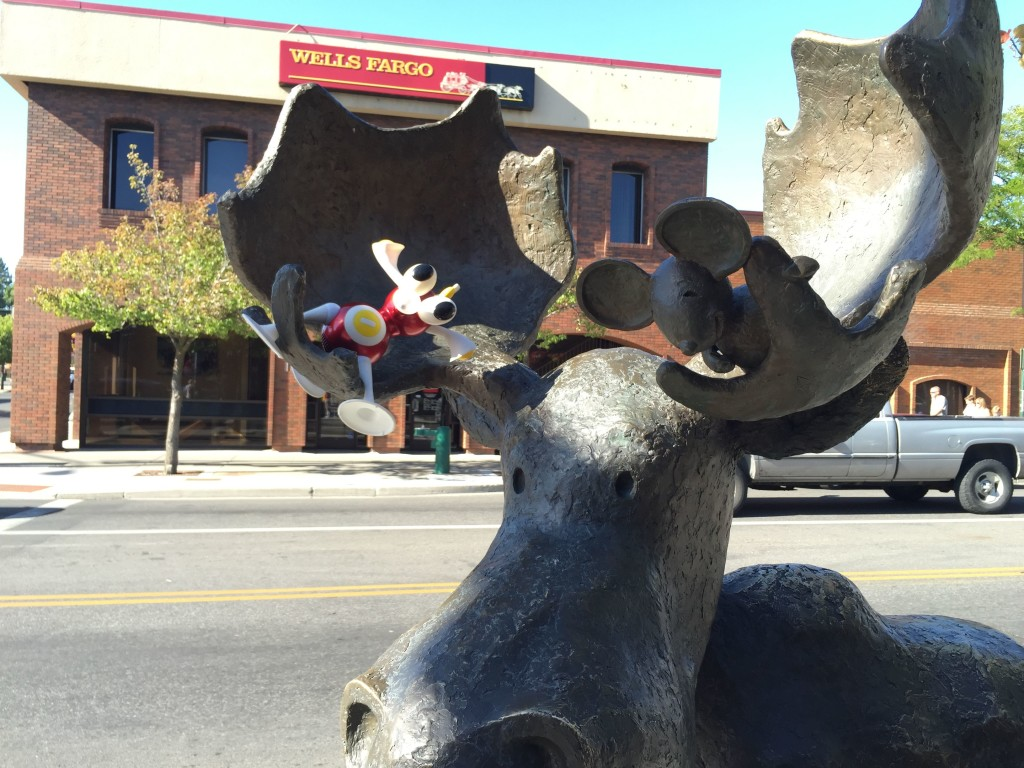 Millie the Moose if very pleased to make Flip's acquaintance in downtown Coeur d'Alene.