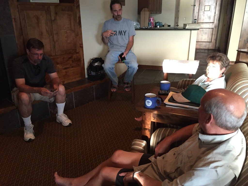 Having a talking about in Marilyn and Jim's room at the Lodge at Whtiefish Lake.